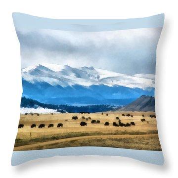 Buffalo Herd Painterly Throw Pillow by Ernie Echols