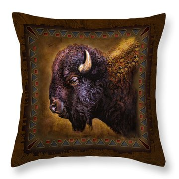 Buffalo Lodge Throw Pillow