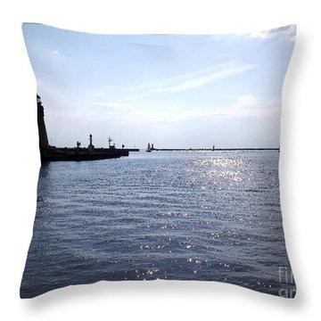 Buffalo Main Lighthouse And Buffalo Harbor Throw Pillow by Rose Santuci-Sofranko
