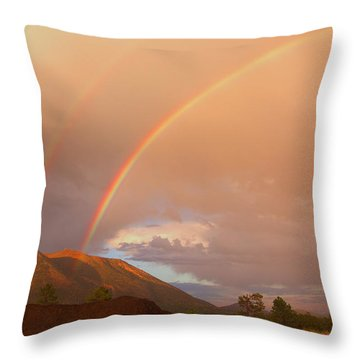Throw Pillow featuring the photograph Buffalo Rainbow by Tom Kelly