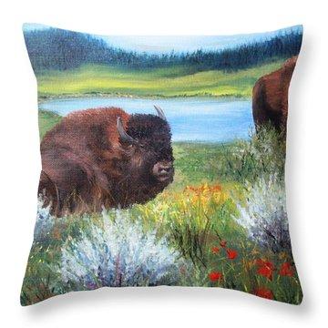 Buffalo Repose  Throw Pillow