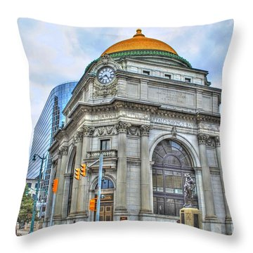 Throw Pillow featuring the photograph Buffalo Savings Bank  Goldome  M And T Bank Branch by Michael Frank Jr