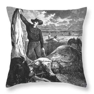 Buffalo Skinner, 1874 Throw Pillow by Photo Researchers