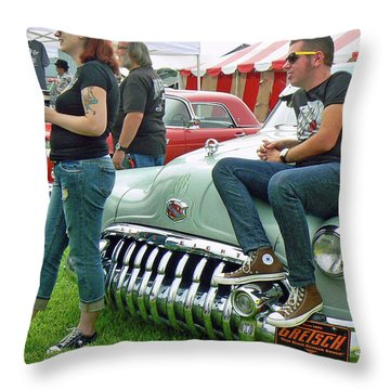 Buick And Blue Jeans Throw Pillow by Pamela Patch