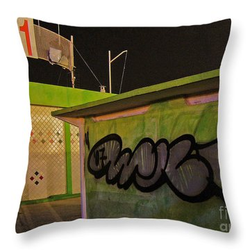 Throw Pillow featuring the photograph Building 31 Rimini Beach Graffiti by Andy Prendy