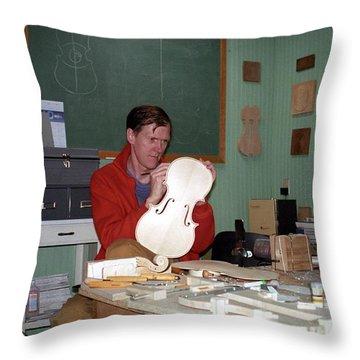 Building A Viola 1990s Joseph Duba Throw Pillow by Joseph Duba