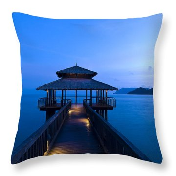 Building At The End Of A Jetty During Twilight Throw Pillow