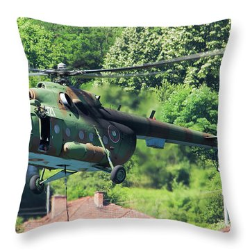 Bulgarian Air Force Mi-17 Helicopter Throw Pillow