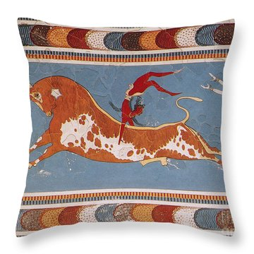 Bull-leaping Fresco From Minoan Culture Throw Pillow
