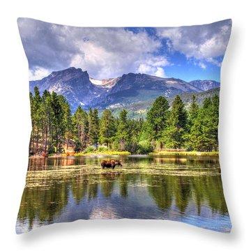 Bull Moose Wading Throw Pillow by Scott Mahon