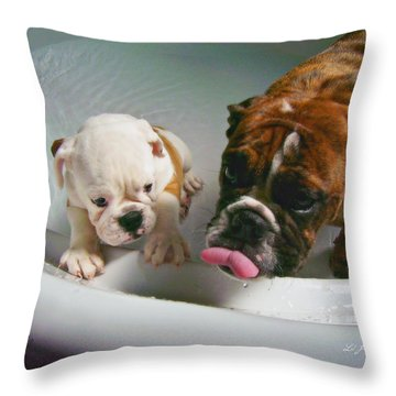 Throw Pillow featuring the photograph Bulldog Bath Time II by Jeanette C Landstrom