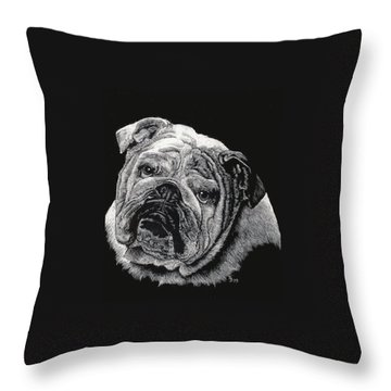 Throw Pillow featuring the drawing Bulldog by Rachel Hames
