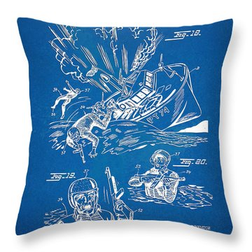 Bulletproof Patent Artwork 1968 Figures 18 To 20 Throw Pillow by Nikki Marie Smith