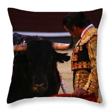 Bullfight Madrid Throw Pillow