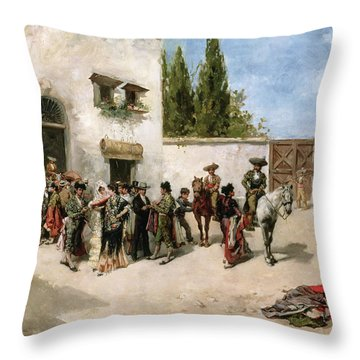 Bullfighters Preparing For The Fight  Throw Pillow by Vicente de Parades