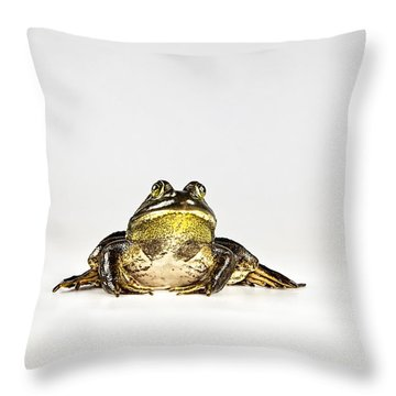 Throw Pillow featuring the photograph Bullfrog by John Crothers