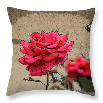 Throw Pillow featuring the photograph Bumble Bee And Rose by Donna  Smith