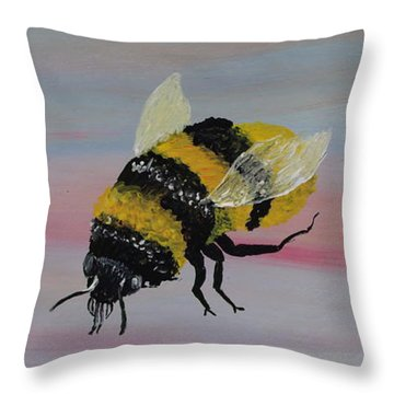 Bumble Bee Throw Pillow by Mark Moore