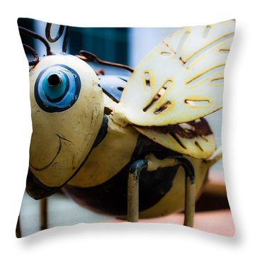Bumble Bee Of Happiness Metal Sculpture Throw Pillow