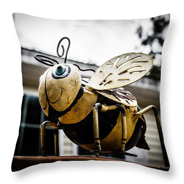 Bumble Bee Of Happiness Metal Statue Throw Pillow