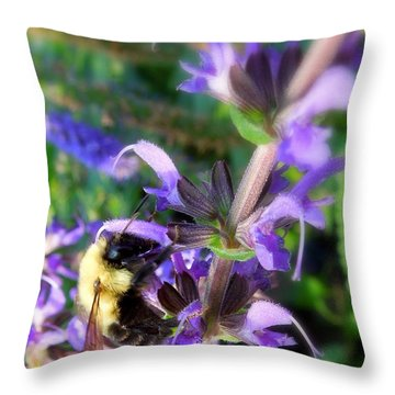 Bumble Bee On Flower Throw Pillow by Renee Trenholm
