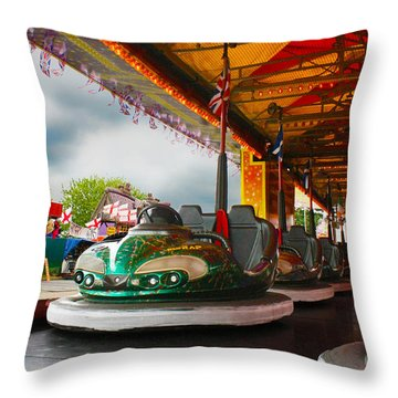 Bumper Cars Throw Pillow by Terri Waters