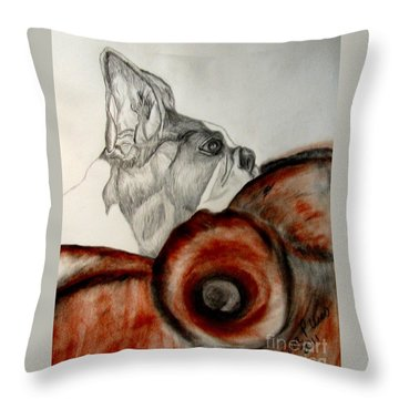 Throw Pillow featuring the drawing Bundled In Blankets by Maria Urso