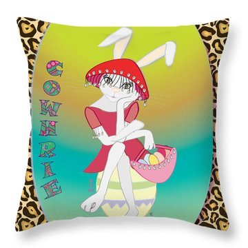 Bunnie Girls- Cowhrie- 3 Of 4 Throw Pillow by Brenda Dulan Moore
