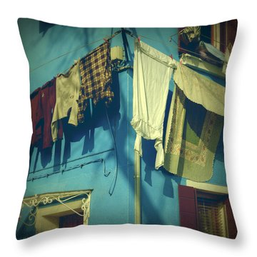 Burano - Laundry Throw Pillow by Joana Kruse