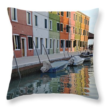 Throw Pillow featuring the photograph Burano Canal by Rebecca Margraf