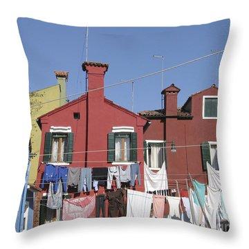 Burano. Venice Throw Pillow by Bernard Jaubert