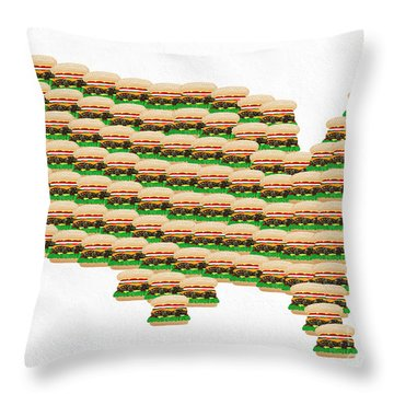 Burger Town Usa Map White Throw Pillow by Andee Design