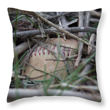 Throw Pillow featuring the photograph Buried Baseball by Stephanie Nuttall