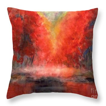 Burning Lake Throw Pillow by Yoshiko Mishina