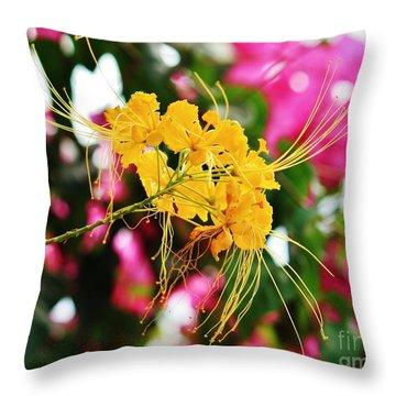 Burst Of Golden Blossoms Throw Pillow by Craig Wood