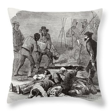Burying The Dead After John Browns Throw Pillow by Photo Researchers