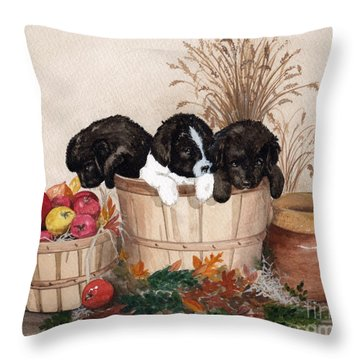 Throw Pillow featuring the painting Bushel Of Fun  by Nancy Patterson