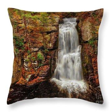 Bushkill Main Falls Throw Pillow by Nick Zelinsky