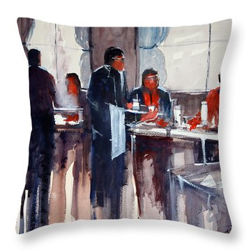 Business Lunch Throw Pillow by Ryan Radke
