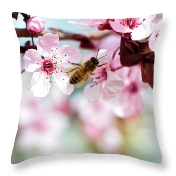 Busy Buzzing Around These Beautiful Blooms... Throw Pillow