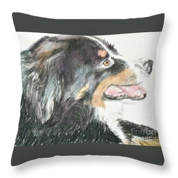 Throw Pillow featuring the drawing Buttercup The Wonderdog by Beth Saffer