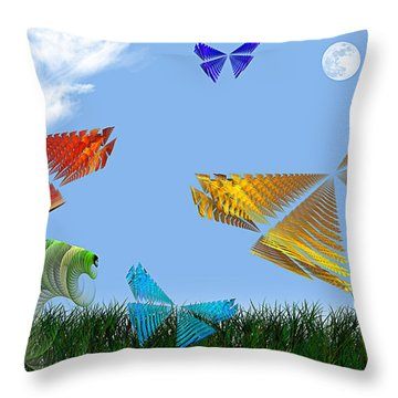 Butterflies Are Free To Fly Throw Pillow by Andee Design