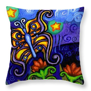 Butterfly At Dusk Throw Pillow by Genevieve Esson