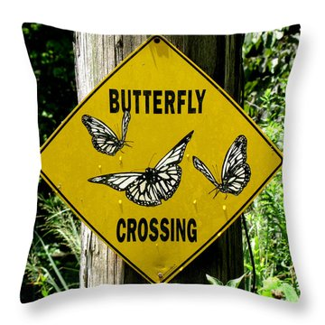 Butterfly Crossing Throw Pillow