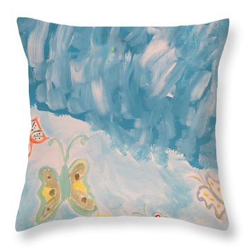 Throw Pillow featuring the painting Butterfly Flight by Sonali Gangane