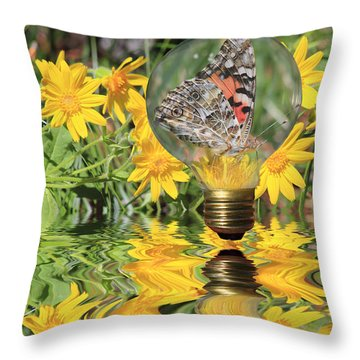 Butterfly In A Bulb II - Landscape Throw Pillow