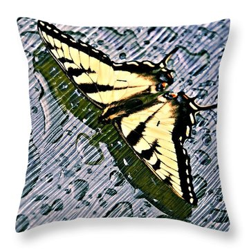 Butterfly In Rain Throw Pillow by Susan Leggett