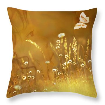 Butterfly Kiss Throw Pillow by Torie Tiffany