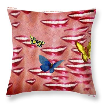 Butterfly Kisses Throw Pillow by Bill Cannon