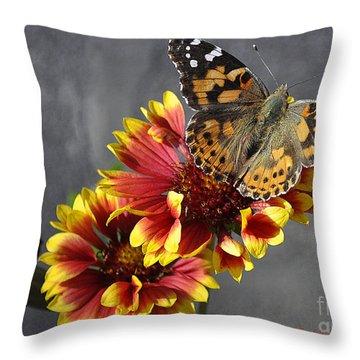 Throw Pillow featuring the photograph Butterfly On A Gaillardia by Verana Stark